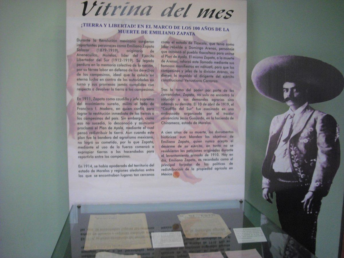 MUSEO DE LA MEMORIA DEDICA VITRINA DEL MES A EMILIANO ZAPATA