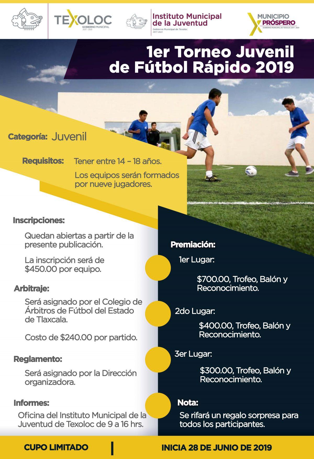 Primer torneo juvenil de fútbol rápido  en San Damian Texoloc