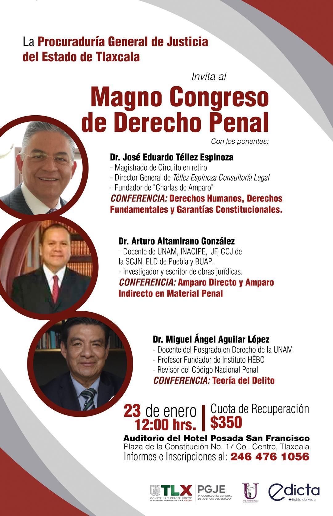 INVITA PGJE A MAGNO CONGRESO DE DERECHO PENAL
