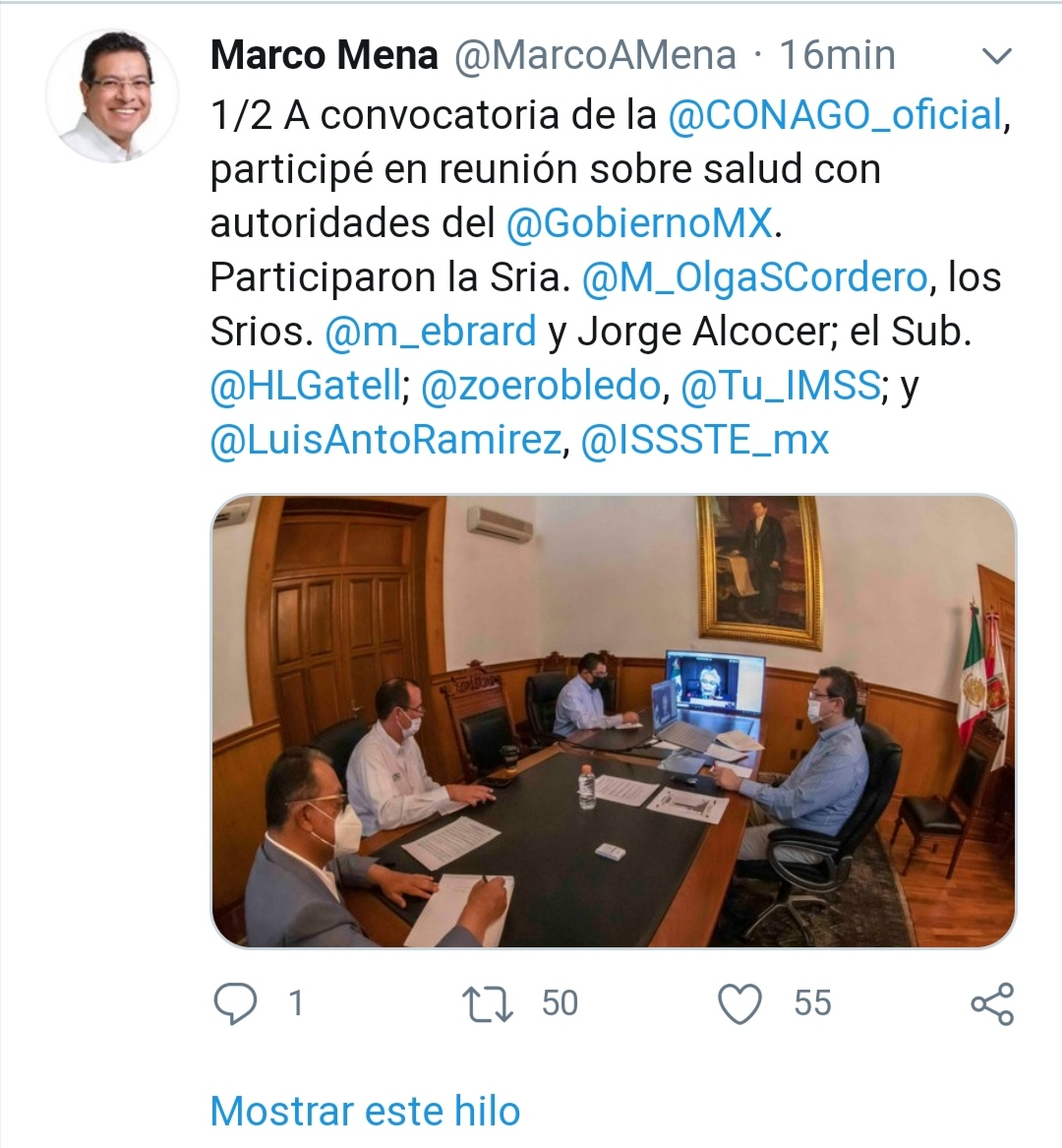 A convocatoria de la @CONAGO_oficial, participé en reunión sobre salud con autoridades del @GobiernoMX.