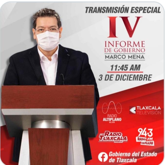 Sigue la transmisión especial del #4informeMarcoMena por nuestras redes sociales o por los sistemas de @radioaltiplano, @radiotlaxcala y @SNTlaxcala.