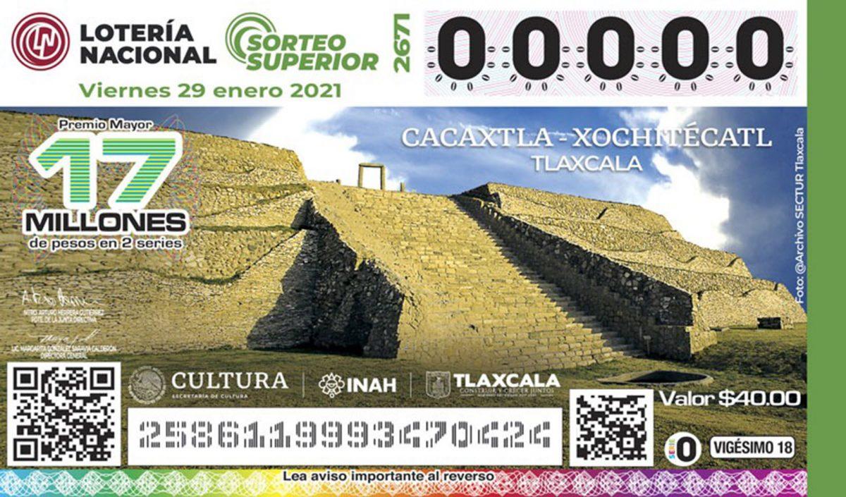 SECTURE Y LOTERÍA NACIONAL DEVELAN BILLETE ALUSIVO  A CACAXTLA-XOCHITÉCATL