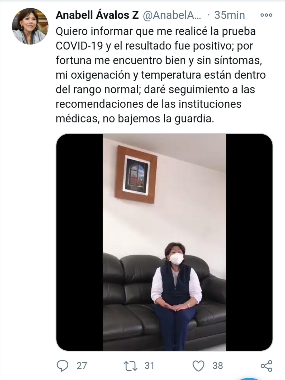 Anabell Ávalos Zempoalteca da positivo a Covid-19