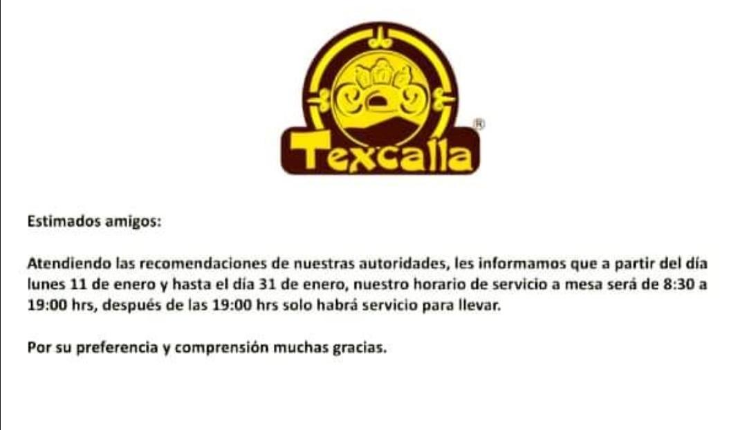 TEXCALLA CAFÉ INFORMA NUEVOS HORARIOS
