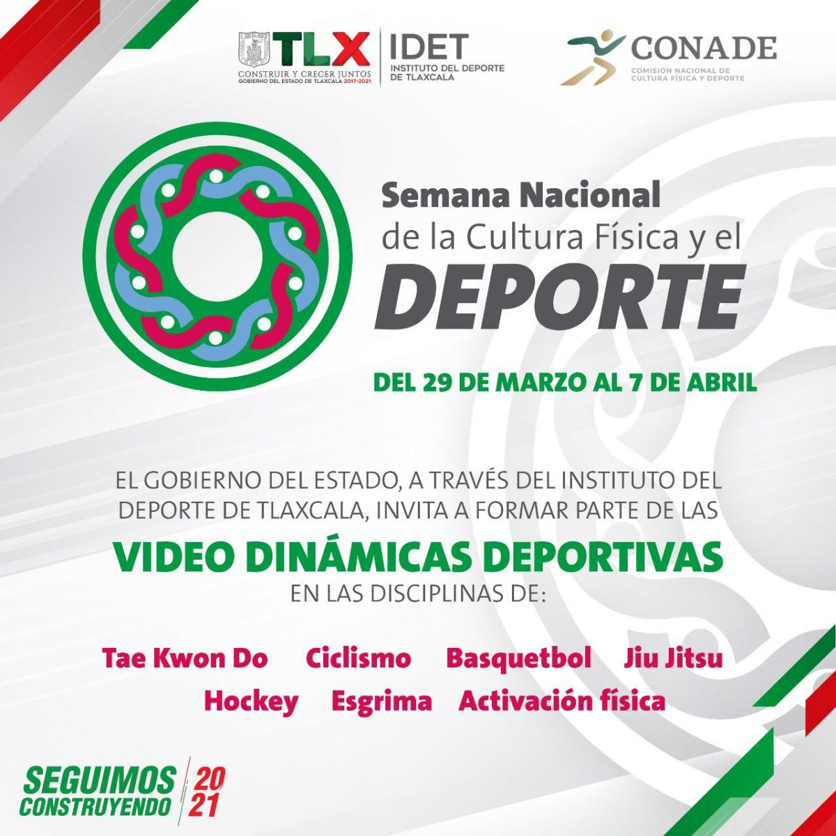 Tlaxcala participará en la Semana Nacional de la Cultura Física y el Deporte