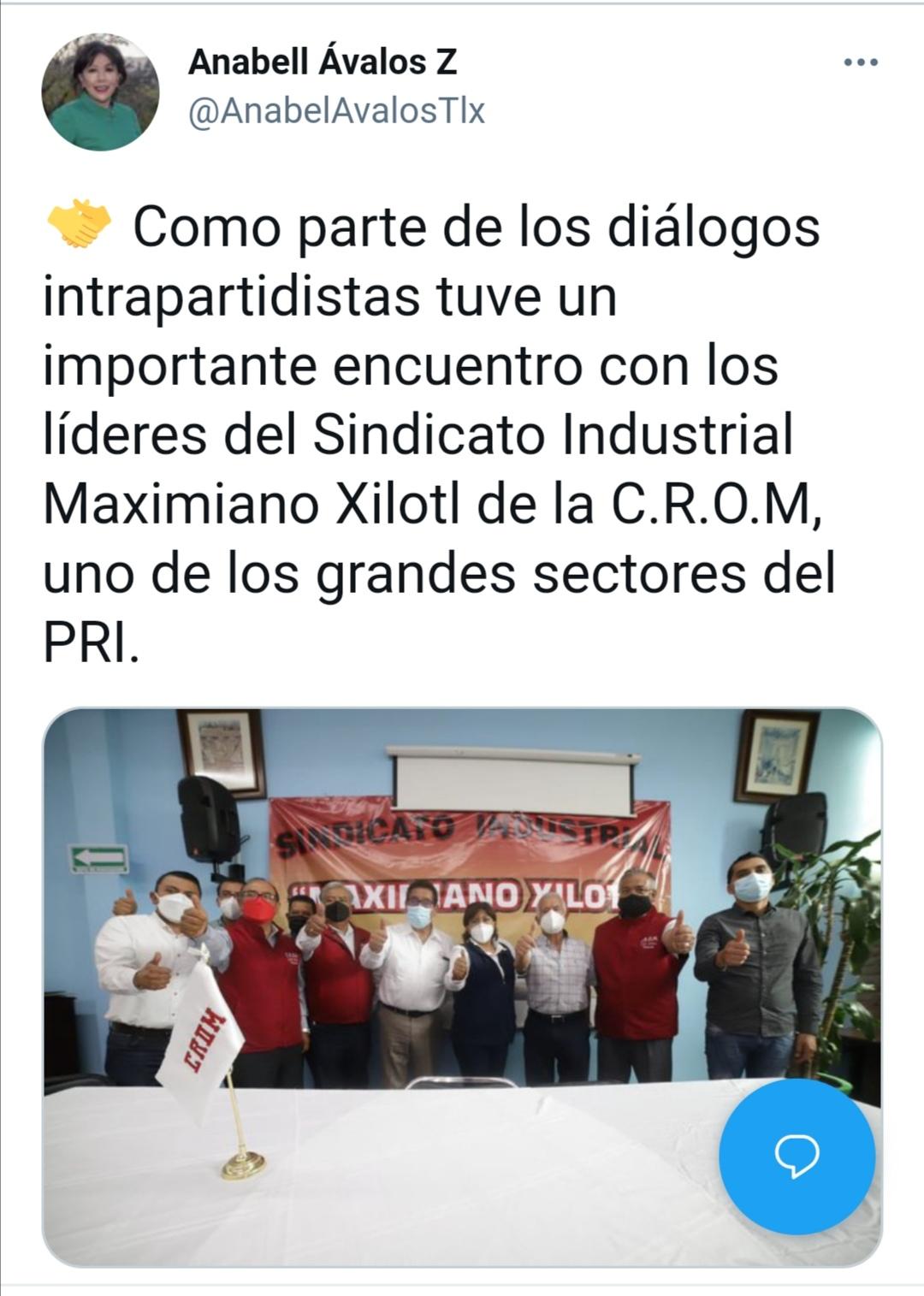 Como parte de los diálogos intrapartidistas tuve un importante encuentro con los líderes del Sindicato Industrial Maximiano Xilotl de la C.R.O.M, uno de los grandes sectores del PRI.