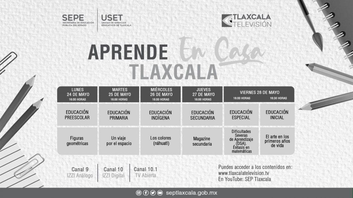 """SEPE PRESENTA BARRA TEMÁTICA DE """"APRENDE  EN CASA TLAXCALA"""" DEL 24 AL 28 DE MAYO"""