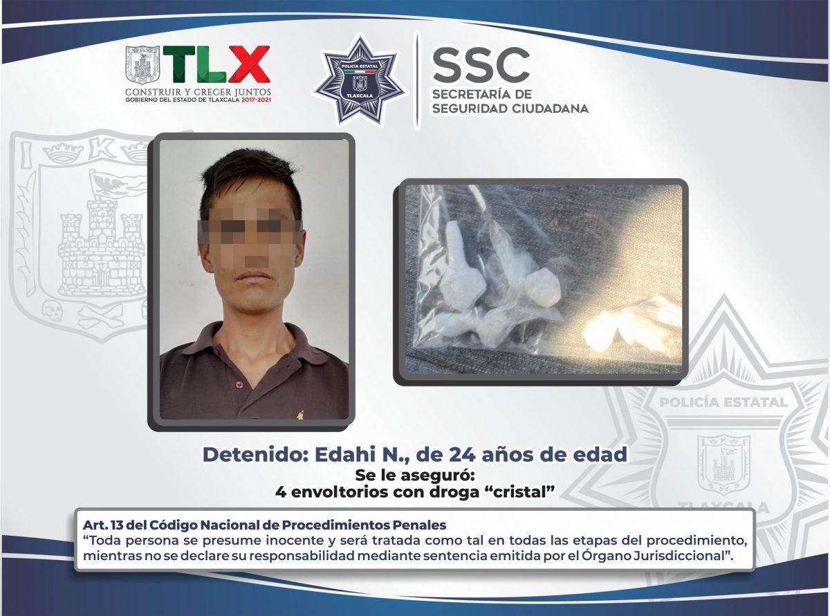 POLICÍA ESTATAL DETIENE EN HUAMANTLA A PERSONA CON SUSTANCIAS ILEGALES