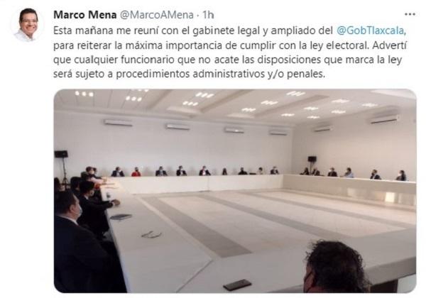 MARCO MENA REÚNE A GABINETE ESTATAL PARA  REITERAR CUMPLIMIENTO DE LEY ELECTORAL