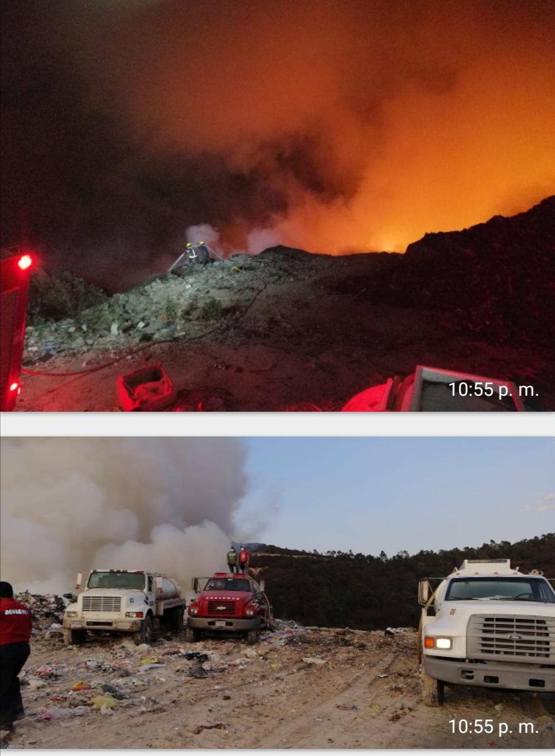 Controlan incendio en el relleno sanitario de Panotla. Trabajan corporaciones municipales y estatales para sofocarlo.